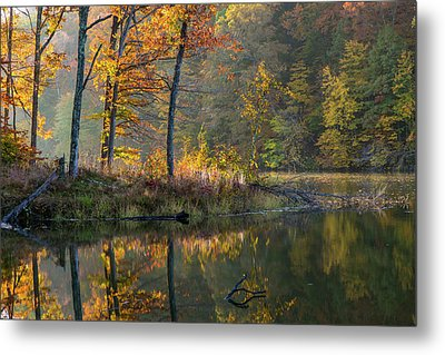 Backlit Trees On Lake Ogle In Autumn Metal Print by Chuck Haney
