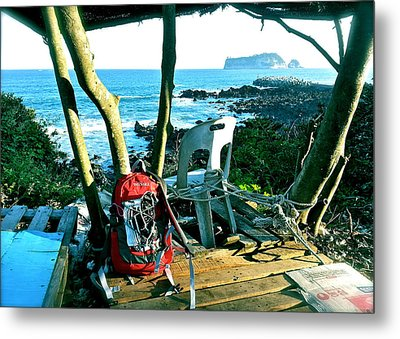 Backpack On The Edge Metal Print by Yen