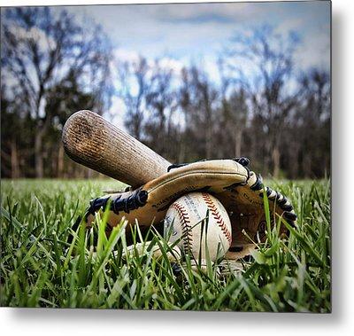 Backyard Baseball Memories Metal Print by Cricket Hackmann