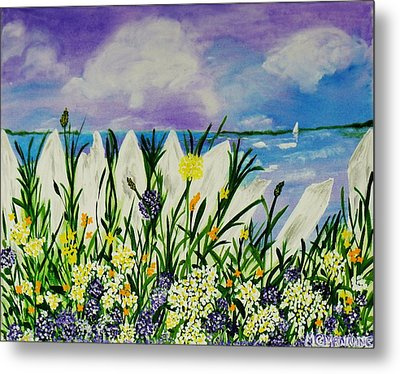 Metal Print featuring the painting Backyard Beach by Celeste Manning