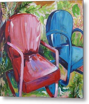 Backyard Chairs Metal Print