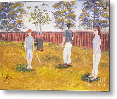 Metal Print featuring the painting Backyard Cricket Under The Hot Australian Sun by Pamela  Meredith