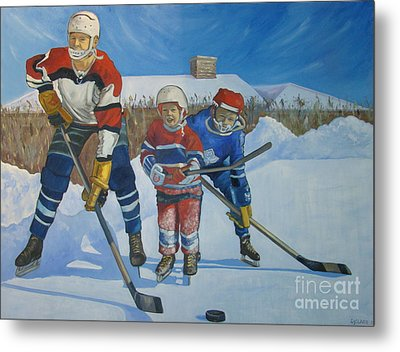 Backyard Ice Hockey Metal Print by Christina Clare