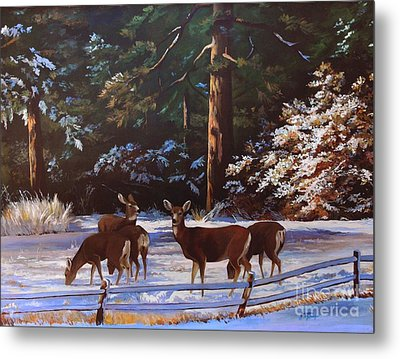 Backyard Visitors Metal Print by Suzanne Schaefer