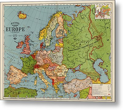 Bacon's Standard Map Of Europe - Circa 1920 Metal Print by Blue Monocle