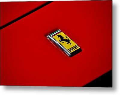 Badge In Red Metal Print by Dean Ferreira