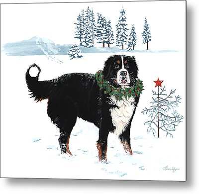 Bah Humbug Merry Christmas Large Metal Print by Liane Weyers