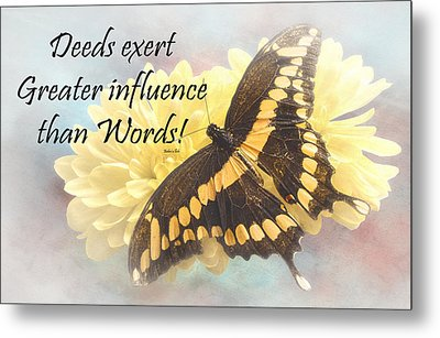Bahai Butterfly Quote Metal Print by Rudy Umans