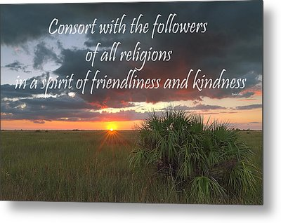 Baha'i Quote On Sunset Metal Print by Rudy Umans