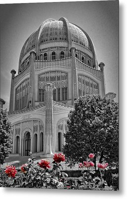 Bahai Temple Wilmette In Black And White Metal Print