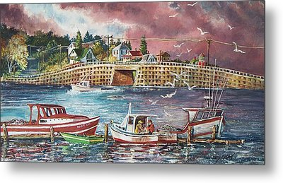 Bailey Island Cribstone Bridge Metal Print