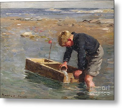 Bailing Out The Boat Metal Print by William Marshall Brown
