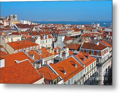Baixa City Center Of Lisbon Panoramic View Metal Print by Kiril Stanchev