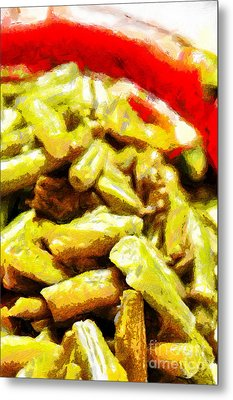 Baked Beans With Chilli Painting Metal Print by Magomed Magomedagaev