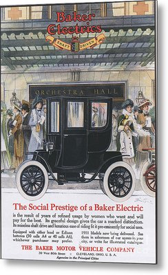 Baker Electric Cars 1910s Usa Metal Print by The Advertising Archives