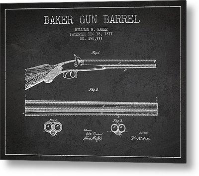 Baker Gun Barrel Patent Drawing From 1877- Dark Metal Print by Aged Pixel