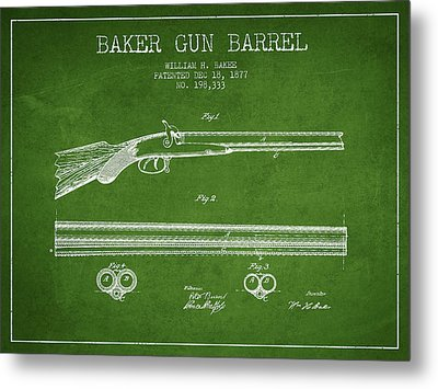 Baker Gun Barrel Patent Drawing From 1877- Green Metal Print by Aged Pixel