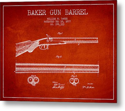 Baker Gun Barrel Patent Drawing From 1877- Red Metal Print by Aged Pixel