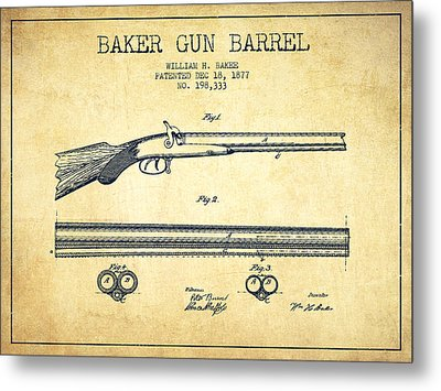 Baker Gun Barrel Patent Drawing From 1877- Vintage Metal Print by Aged Pixel