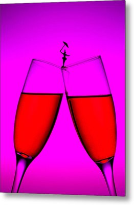 Balance On Red Wine Cups Little People On Food Metal Print by Paul Ge