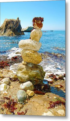 Balanced Beach Rock Stack Metal Print