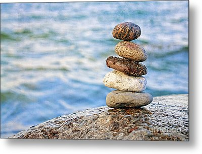 Balanced Pebbles Metal Print by Charline Xia