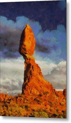 Balanced Rock At Sunset Digital Painting Metal Print by Mark Kiver