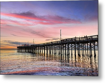 Balboa Pier Sunset Metal Print by Kelley King