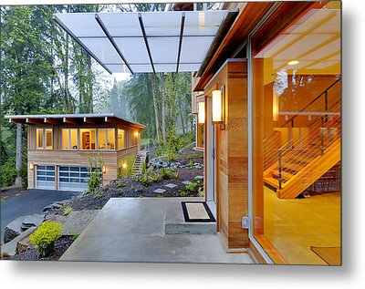 Balcony And Awning Of Modern House Metal Print by Will Austin