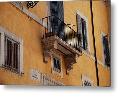 Metal Print featuring the photograph Balcony Piazza Della Madallena In Roma by Dany Lison
