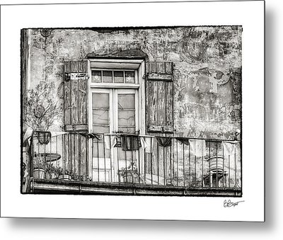 Balcony View In Black And White Metal Print by Brenda Bryant