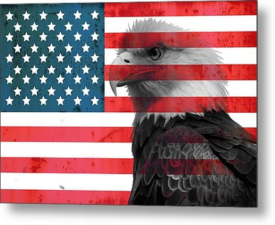 Bald Eagle American Flag Metal Print by Dan Sproul