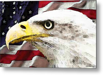 Bald Eagle Art - Old Glory - American Flag Metal Print