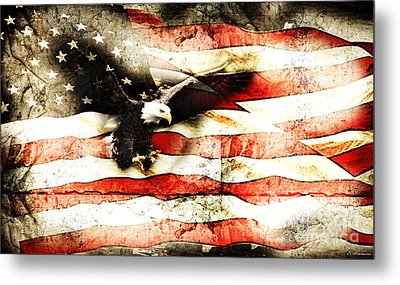 Bald Eagle Bursting Thru Flag Metal Print