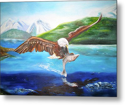 Metal Print featuring the painting Bald Eagle Having Dinner by Thomas J Herring