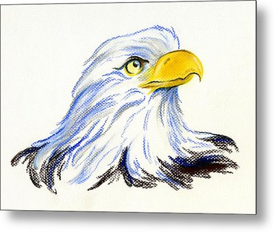 Metal Print featuring the pastel Bald Eagle Portrait by MM Anderson