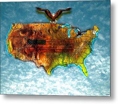 Bald Eagle U.s. Map Metal Print by Daniel Janda