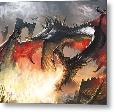Balerion The Black Metal Print by Ryan Barger
