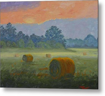 Bales At Dawn Metal Print by Tommy Thompson