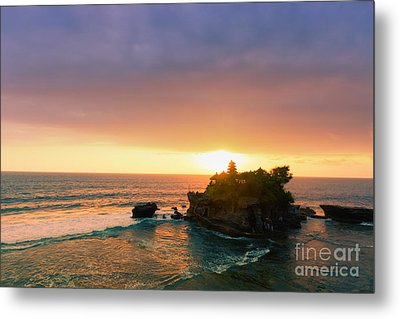 Bali Tanah Lot Temple At Sunset Metal Print by Fototrav Print
