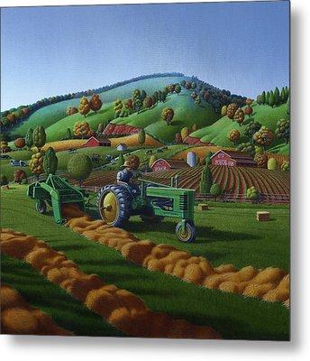 Baling Hay Field - John Deere Tractor - Farm Country Landscape Square Format Metal Print by Walt Curlee