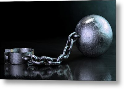Ball And Chain Dark Metal Print by Allan Swart