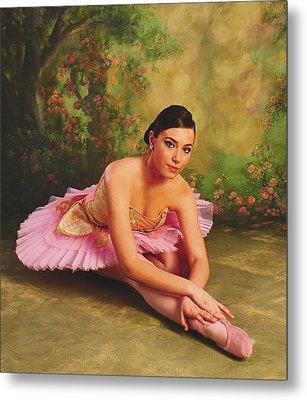 Ballerina In The Rose Garden Metal Print