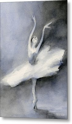 Ballerina In White Tutu Watercolor Painting Metal Print