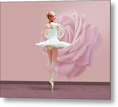 Ballerina In White With Pink Rose  Metal Print