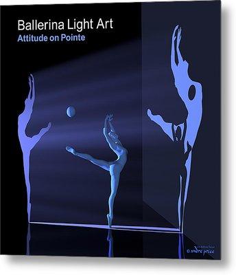Ballerina Light Art - Blue Metal Print by Andre Price