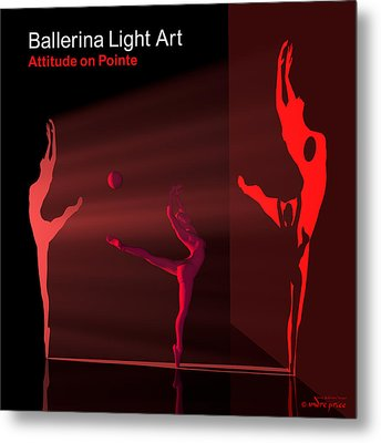 Ballerina Light Art - Red Metal Print by Andre Price