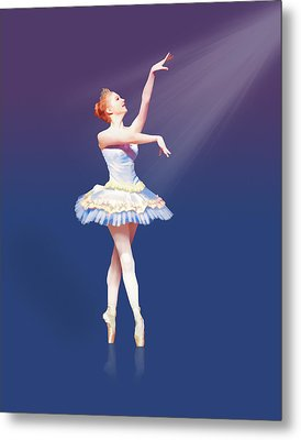 Ballerina On Pointe In Spotlight Metal Print by Delores Knowles