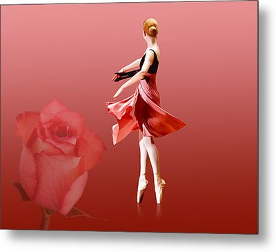 Ballerina On Pointe With Red Rose  Metal Print by Delores Knowles