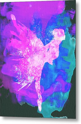 Ballerina On Stage Watercolor 1 Metal Print by Naxart Studio